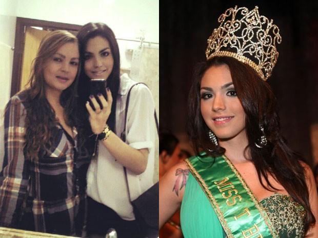 A transexual Miss T Brasil, Marcela Ohio com a mãe Cláudia Ohio (Foto: Arquivo Pessoal)