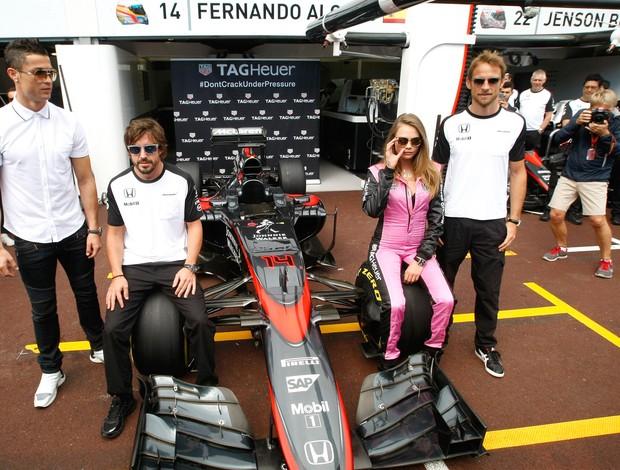 Cristiano Ronaldo, Button e Fernando Alonso no GP de Monaco