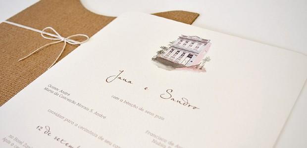 Uma tendência forte é ilustrar o local do casamento no papel. Nesse caso, por exemplo, a celebração aconteceria em um hotel. Vale para praia, fazenda, igreja... (Foto: Susana Fujita)