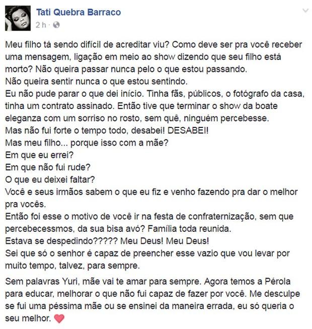 Tati Quebra Barraco em seu perfil no Facebook (Foto: Reprodução)