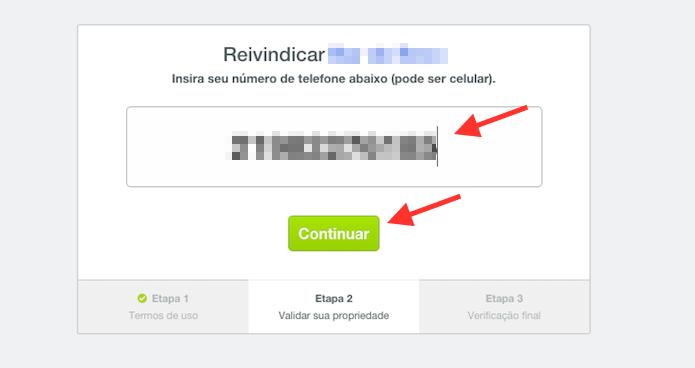 Vinculando um número de telefone ao processo para reivindicar edições em uma página de restaurante ou loja no Foursquare (Foto: Reprodução/Marvin Costa)