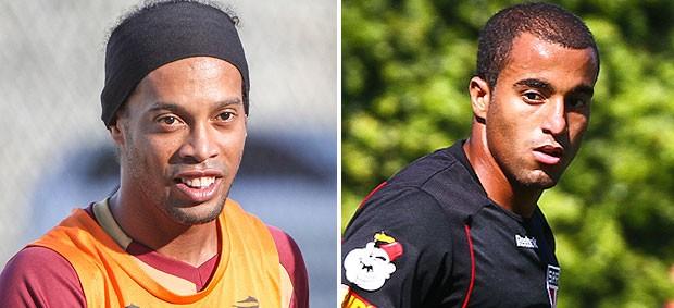 Ronaldinho e Lucas, Atlético-MG São Paulo (Foto: Editoria de Arte / Globoesporte.com)