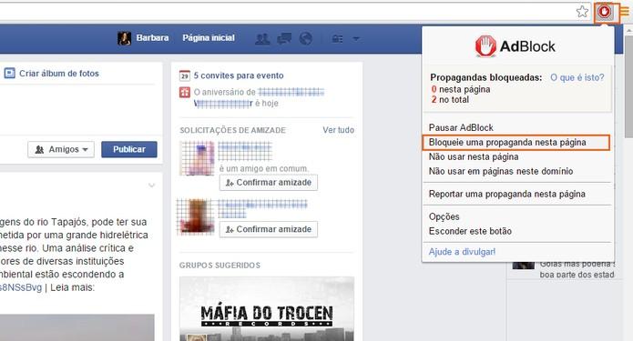 Acesse o Facebook e inicie a remoção dos anúncios e sugestões pelo AdBlock (Foto: Reprodução/Barbara Mannara)