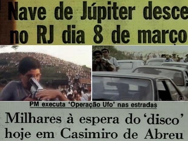 Chegada dos extraterrestres atraiu cerca de 30 mil pessoas além da imprensa mundial (Foto: Reprodução / Inter TV e TV Globo)