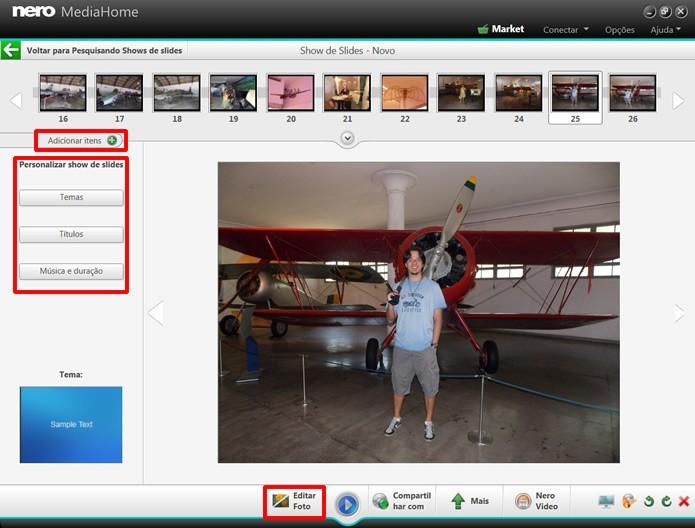 O Nero Media Home ainda permite que você crie apresentações de fotos, que poderão receber efeitos e edições (Foto: Reprodução/Daniel Ribeiro)