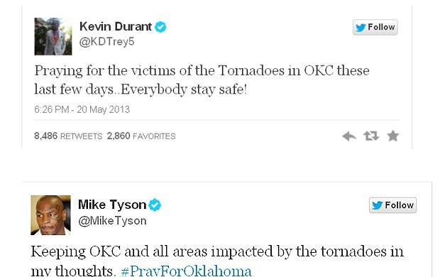 Kevin Durant  Mike Tyson tornado nos EUA (Foto: Reprodução)