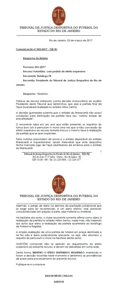 despacho Botafogo (Foto: Reprodução)