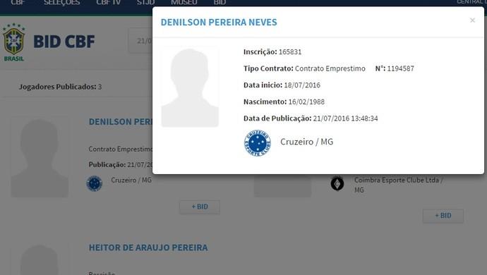 Denílson teve o nome publicado no BID (Foto: Reprodução/ BID)
