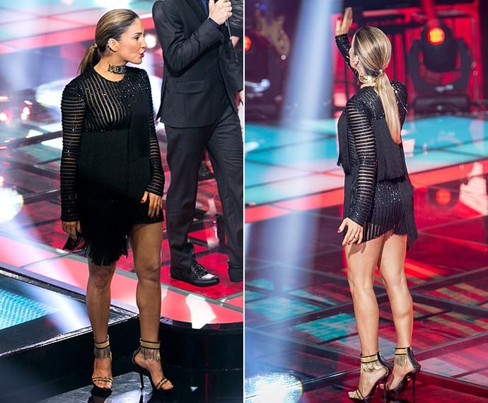 Para A Nossa Alegria... Vestido curtinho de Claudia deixa pernões da técnica à mostra! (Foto: Isabella Pinheiro / Gshow)