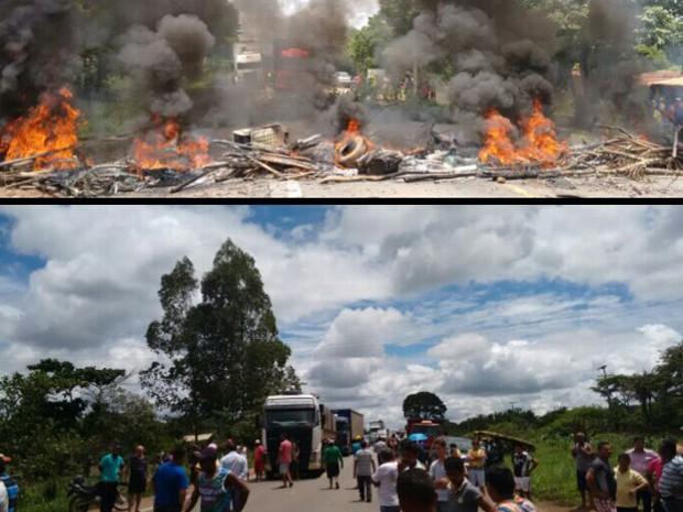 Moradores revoltados protestam no km 57 da BR-135, Bacabeira, MA, após acidente de criança de 6 anos (Foto: Caique Moraes)