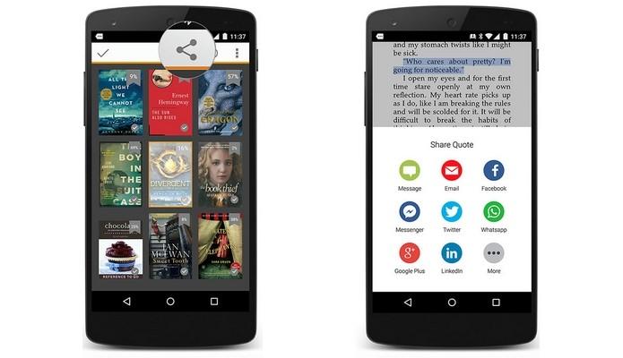 Kindle para Android agora permite compartilhar techos de livros via mensageiro (Foto: Divulgação)