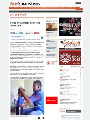 Jornal malaio divulgou prisão de acusado de agressão (Foto: Reprodução)
