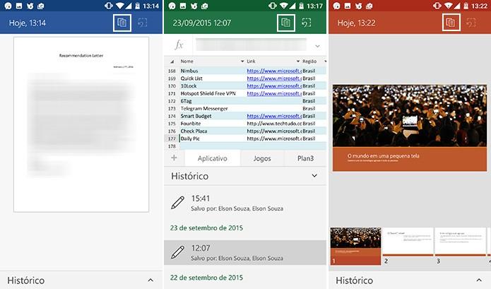Office para Android traz botão para salvar cópia de históricos de documento (Foto: Reprodução/Elson de Souza)