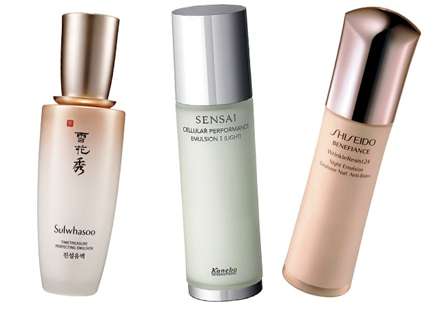 Timetreasure perfect Emulsion, US$ 115, Sulwhasoo; Sensai Emultion I (Light), US$ 65, Kanebo; BenefianceWrinkle resist Night Emulsion, R$ 392, Shiseido (Foto: Reprodução)