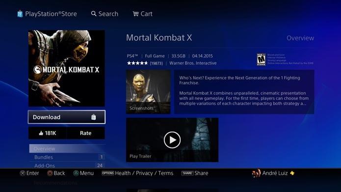 Tela do game na PlayStation Store (Foto: Reprodução/André Mello)
