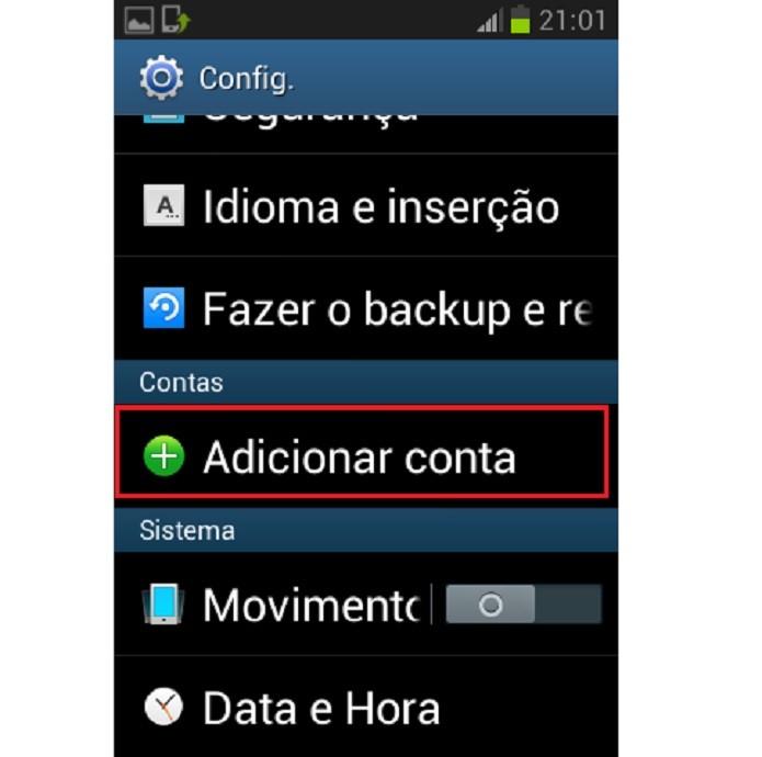 Toque em Adicionar conta (Reprodução/Taysa Coelho)