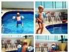 Mãe do filho de Neymar mostra garoto se divertindo na piscina