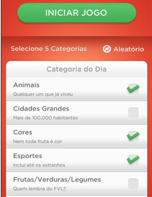 Jogadores podem selecionar categorias antes da partida de 'Stop' (Foto: Divulgação/Fanatee)