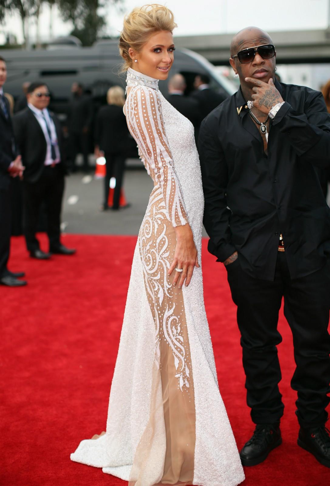 A socialite Paris Hilton, também no Grammy 2014. (Foto: Getty Images)