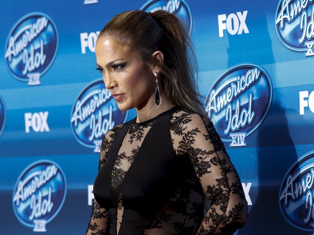 Jennifer Lopez na final da 14ª temporada do American Idol em Los Angeles, nos Estados Unidos (Foto: Patrick T. Fallon/ Reuters)