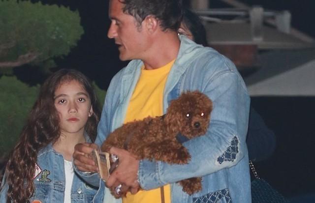 Butters, cãozinho de Katy Perry, no colo de Orlando Bloom, ex-affair da cantora (Foto: AKM-GSI)