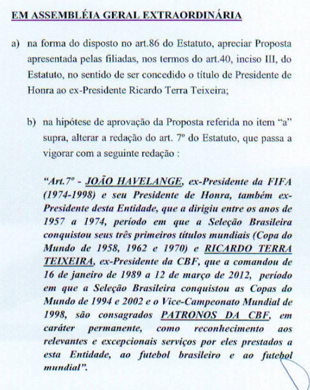 Texto Ricardo Teixeira CBF (Foto: Divulgação / CBF)