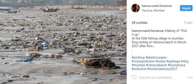 Projeto de 85 semanas retira 5 mil toneladas de lixo da praia de Mumbai (Foto: Instagram)