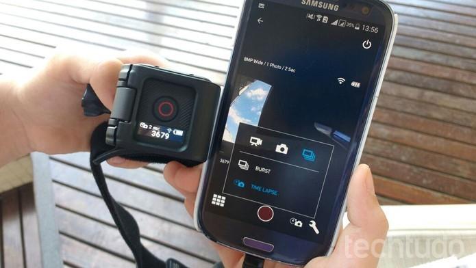 Com opção de se conectar ao app para smartphone, a Session permite maior controle das imagens. (Foto: TechTudo/Isabela Giantomaso)
