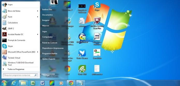 Menu Iniciar do Windows aberto (Foto: Reprodução/Raquel Freire)