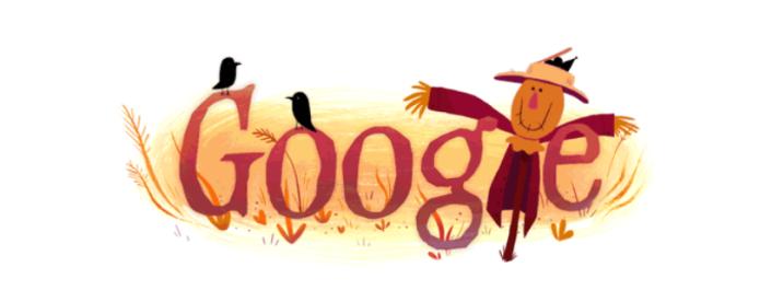Espantalhos e corvos ilustram o doodle de Halloween (Foto: Reprodução/Google)