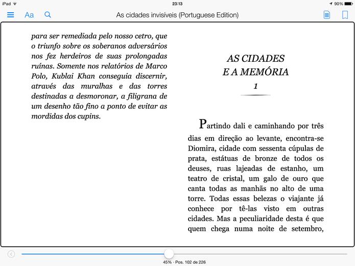 Clique na tela com três dedos para saber sua localização no livro e acessar suas configurações (Foto: Daniel Ribeiro / TechTudo)