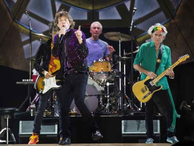 Os Rolling Stones durante show em Tel Aviv, no dia 4 de junho (Foto: AFP Photo/Jack Guez)