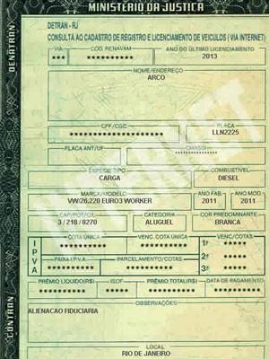 Documento da carreta envolvida no acidente na Linha Amarela, no Rio (Foto: Reprodução/Detran-RJ)