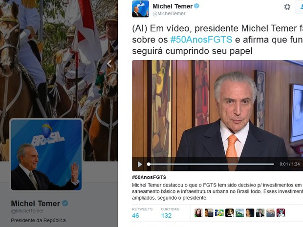 Michel Temer fala sobre FGTS em vídeo públicado no Twitter. (Foto: Reprodução/Twitter)