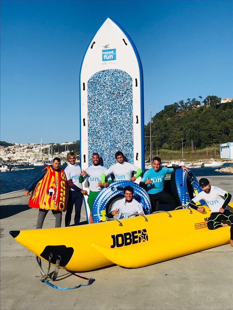 Os brasileiros que quebraram o recorde mundial de maior onda surfada em big sup (Foto: Canal Off)