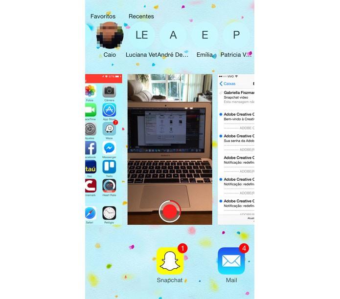 O botão home mostrará as abas aberta, entre elas o Snapchat. Continue gravando (Foto: Reprodução/ Gabriella Fiszman)