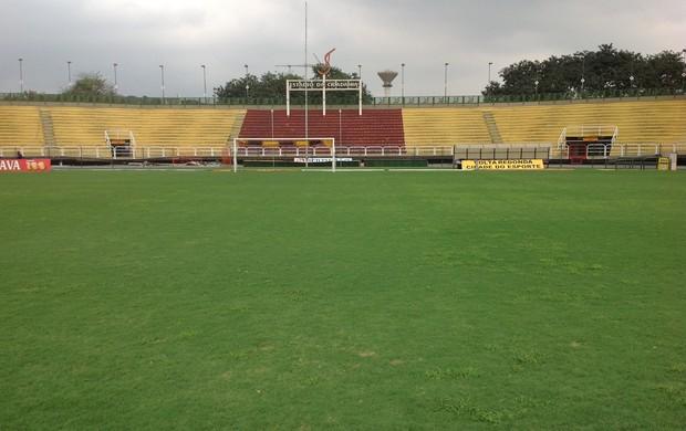 Gramado do Raulino e estádio estão prontos para Brasileirão (Foto: Vinicius Lima/GLOBOESPORTE.COM)