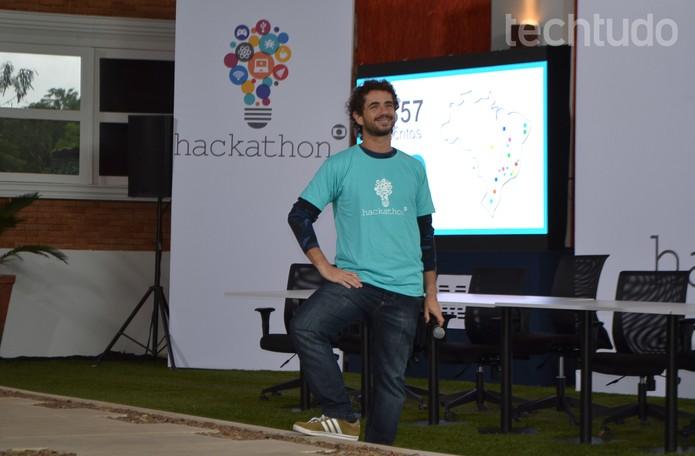 Felipe Andreoli é o mestre de cerimônias do Hackathon Globo (Foto: Melissa Cruz/TechTudo)