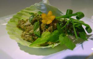 Salada picante com carne grelhada
