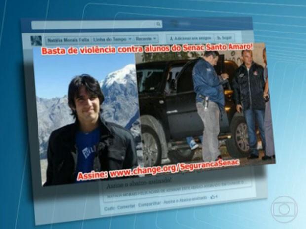 Natália havia posta protesto contra a violência na região (Foto: TV Globo/Reprodução)