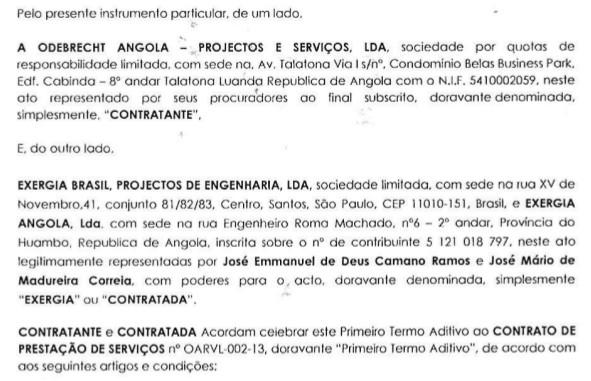 Contrato da Odebrecht com a empresa do sobrinho de Lula (Foto: Reprodução)