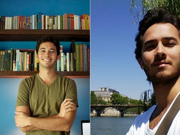 Gabriel Falcão na época de Malhação e recentemente durante viagem pela Europa (Foto: Arquivo Pessoal)