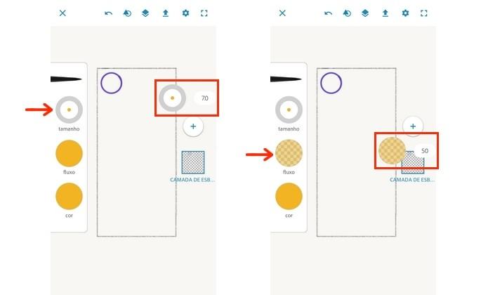 Alteração de tamanho e opacidade do pincel do Photoshop Sketch (Foto: Reprodução/Raquel Freire)