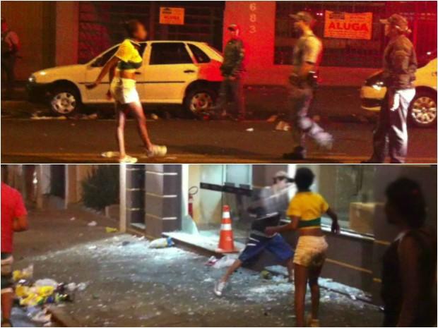 Jovem é flagrada enfrentando policiais e quebrando vidro de loja (Foto: Reprodução/ TV TEM)