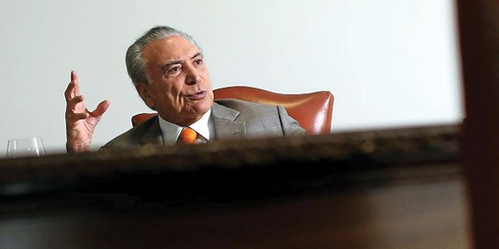 O presidente Michel Temer no Planalto (Foto: Adriano Machado / Reuters)