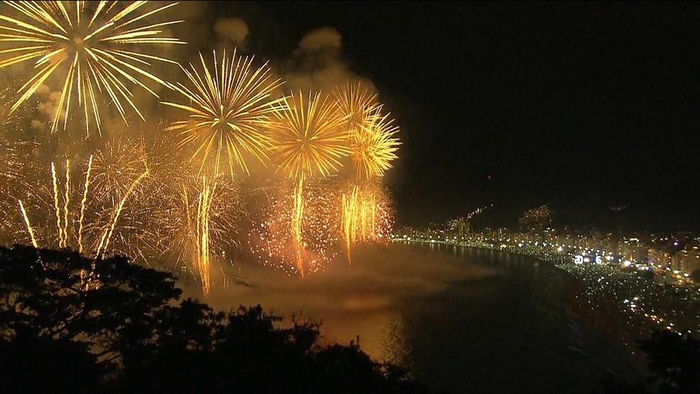 Réveillon na Orla de Copacabana: este ano, festa terá apenas um palco (Foto: Reprodução/TV Globo)