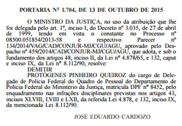 Portaria com a demissão de Protógenes Queiroz foi publicada nesta quarta-feira (14)  (Foto: Reprodução/Diário Oficial da União)