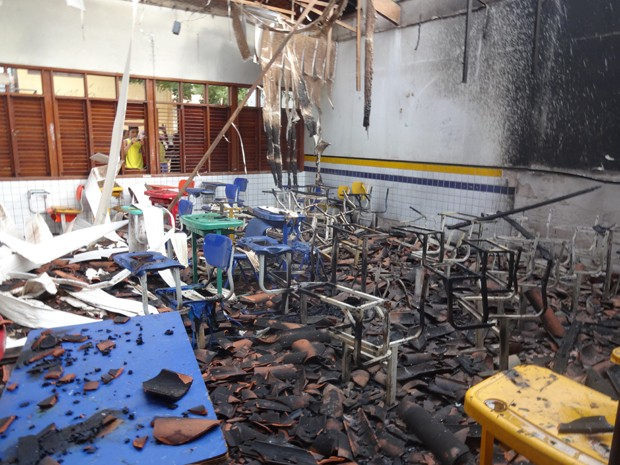 Sala ficou completamente destruída após incêndio. (Foto: Douglas Pinto)