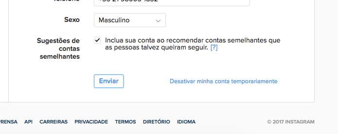 É possível fazer com que seu perfil não seja sugerido para seguir (Foto: Reprodução/Felipe Vinha)