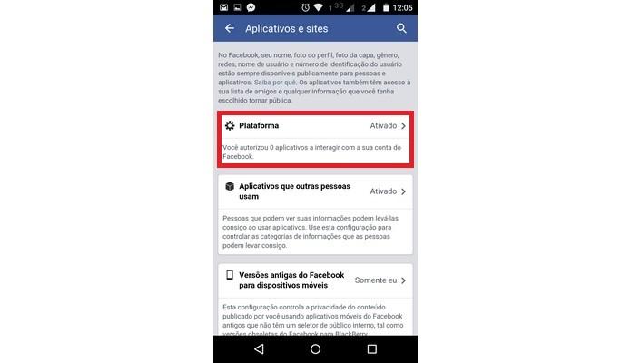 Opção Plataforma do Facebook é configurada como ativada por padrão (Foto: Reprodução/Raquel Freire)